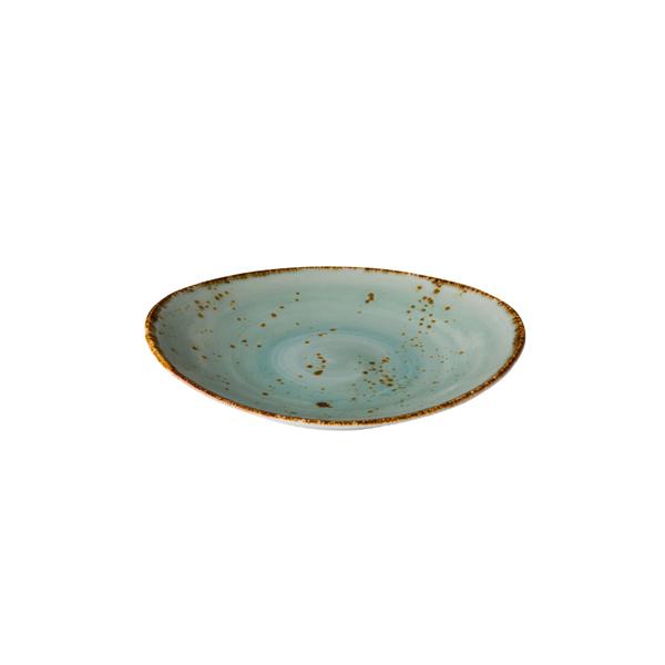 Q authentic bord ovaal aqua blauw 17,1x14,8 cm 6stuks