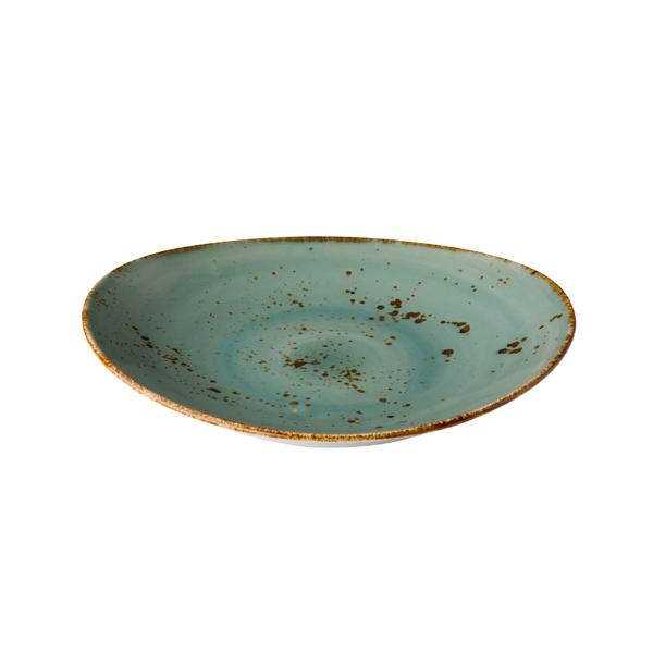 Q authentic bord ovaal aqua blauw 21,5x19 cm 6stuks