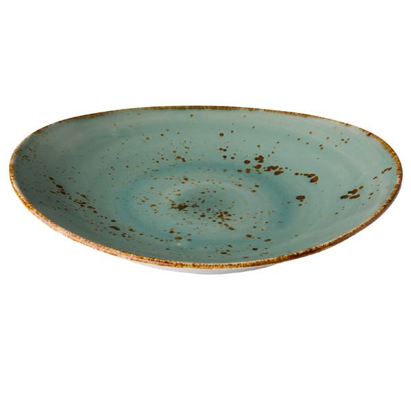 Q authentic bord ovaal aqua blauw 30x25,5 cm 3stuks