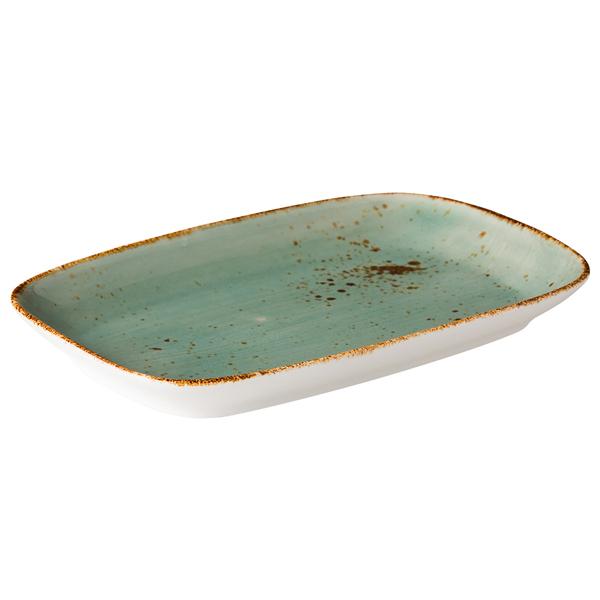 Q authentic bord rechthoekig aqua blauw 24,7x15,4 cm 3stuks
