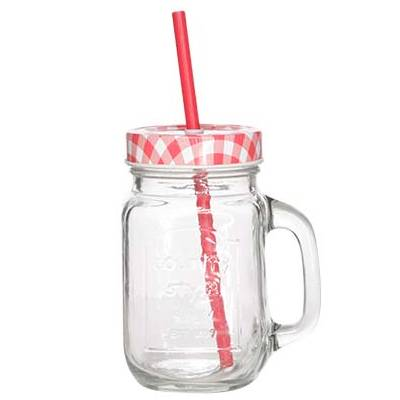 Drinking Jar Country drinkbeker 420ml met handvat deksel rietje