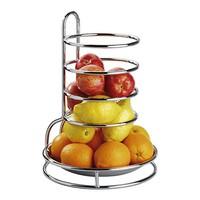 Fruitetagere sinaasappelkorf laag verchroomd roestvrijstalen schaal