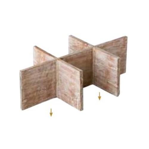 Binnenwerk mango hout 6 vaks vakverdeling