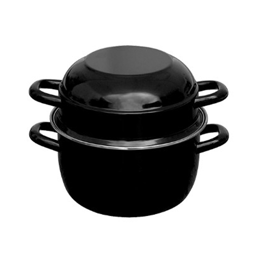 mosselpan zwart geemailleerd rvs