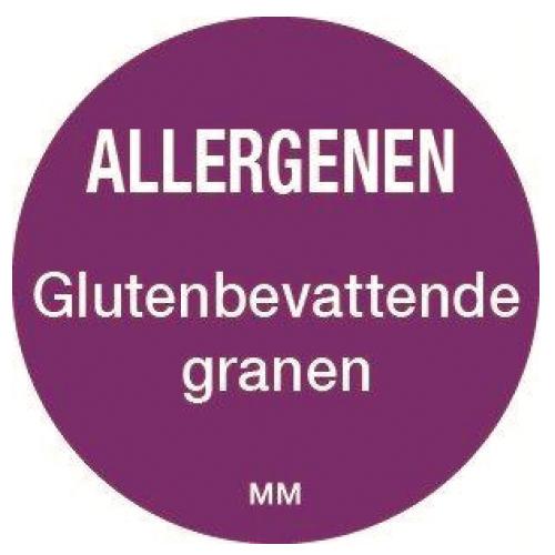 allergenen sticker gluten granen rol 1000 stuks rond 25 mm daymark safety systems