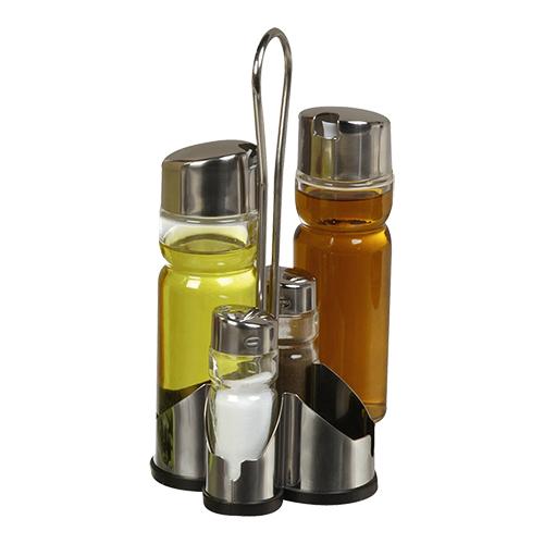 Menageset peperstrooier zoutstrooier Olie azijn roestvrijstaal