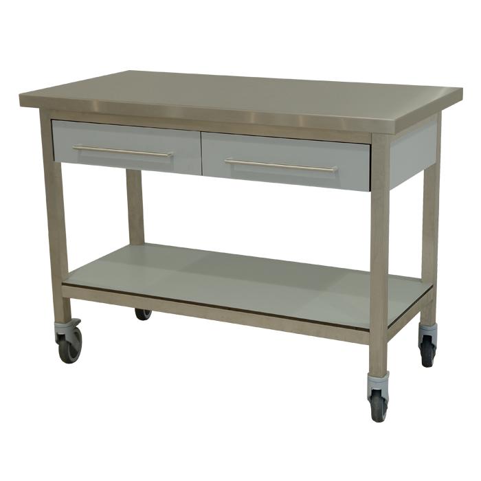 keukenmeubel keuken meubilair werktafel rvs 2 laden verrijdbaar grigio perla