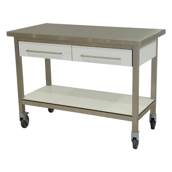 keukenmeubel keuken meubilair werktafel rvs 2 laden verrijdbaar bianco wit