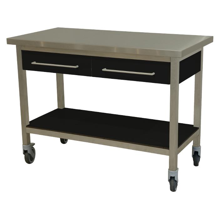 keukenmeubel keuken meubilair werktafel rvs 2 laden verrijdbaar zwart