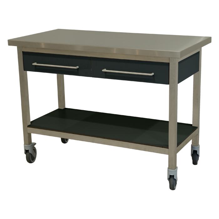 keukenmeubel keuken meubilair werktafel rvs 2 laden verrijdbaar antraciet