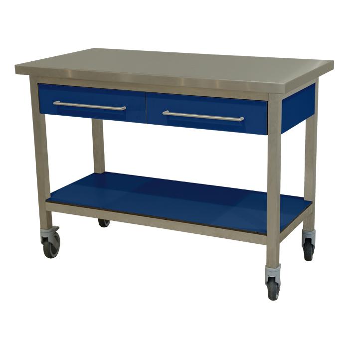 keukenmeubel keuken meubilair werktafel rvs 2 laden verrijdbaar blauw