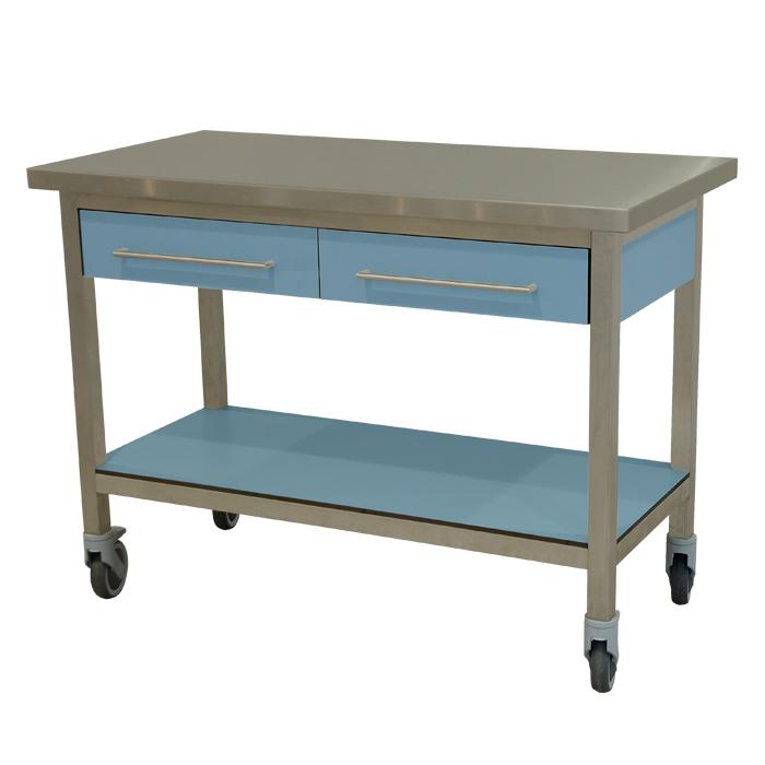 keukenmeubel keuken meubilair werktafel rvs 2 laden verrijdbaar lavendel blauw