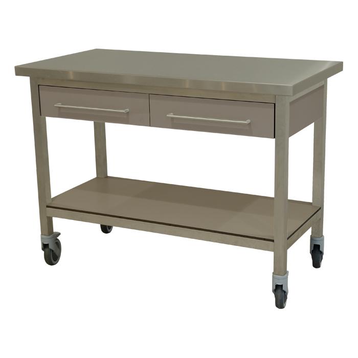 keukenmeubel keuken meubilair werktafel rvs 2 laden verrijdbaar grigio alpaca