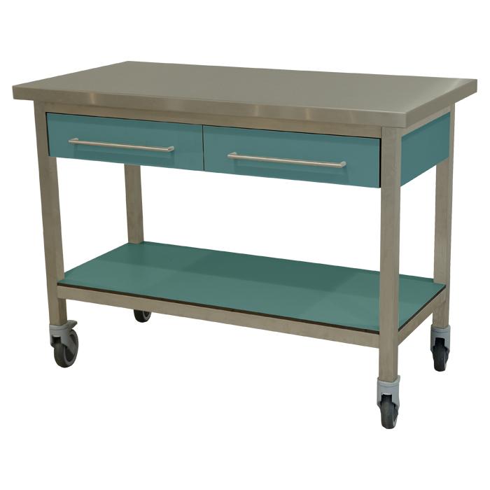 keukenmeubel keuken meubilair werktafel rvs 2 laden verrijdbaar turquoise pastel
