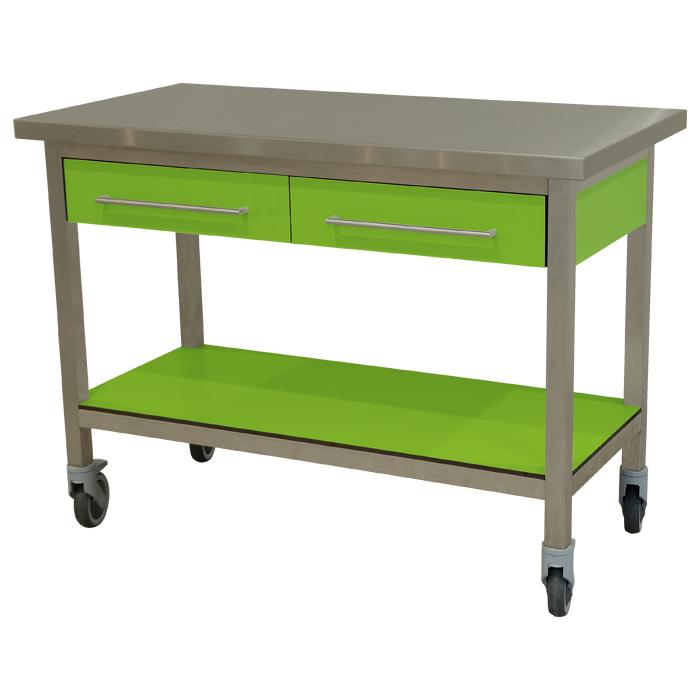 keukenmeubel keuken meubilair werktafel rvs 2 laden verrijdbaar groen