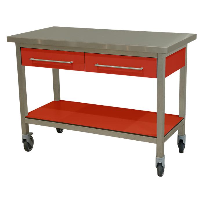 keukenmeubel keuken meubilair werktafel rvs 2 laden verrijdbaar rood