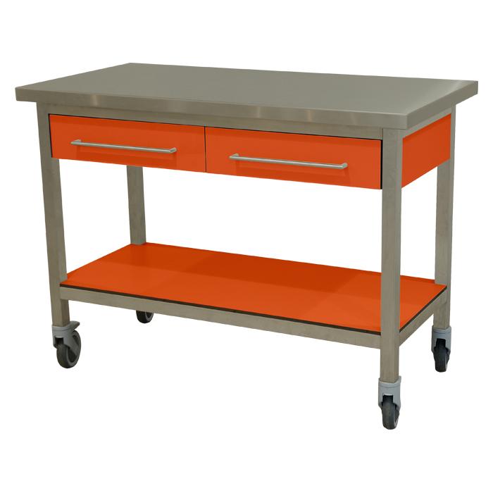 keukenmeubel keuken meubilair werktafel rvs 2 laden verrijdbaar oranje