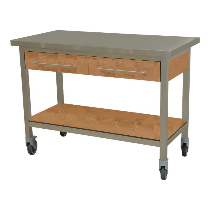 keukenmeubel keuken meubilair werktafel rvs 2 laden verrijdbaar teak hout