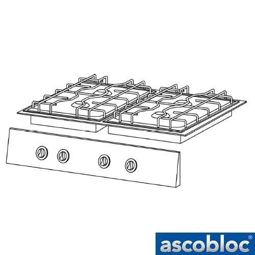 Ascobloc Integraline IGH 410 GastO gaskookplaat inbouw gas herde logo