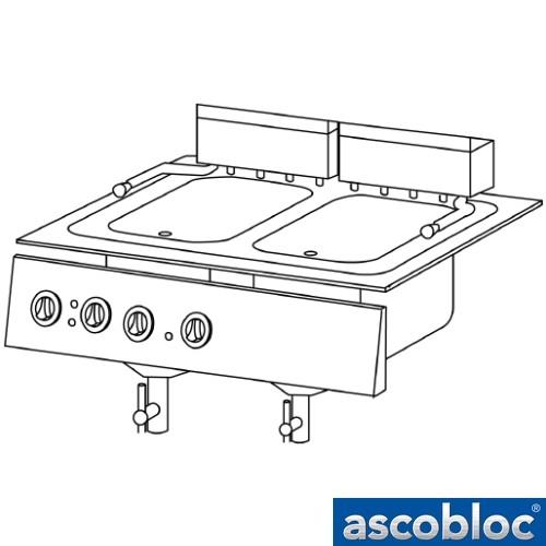 Ascobloc Integraline IEF 224 GastO inbouw friteuse elektro fritteuse elektonischer temperaturregelung folientastatur