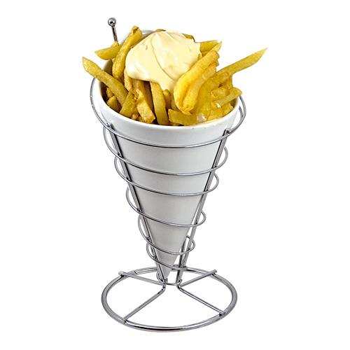 Patates friteszakhouder roestvrijstaal met porseleineninzet