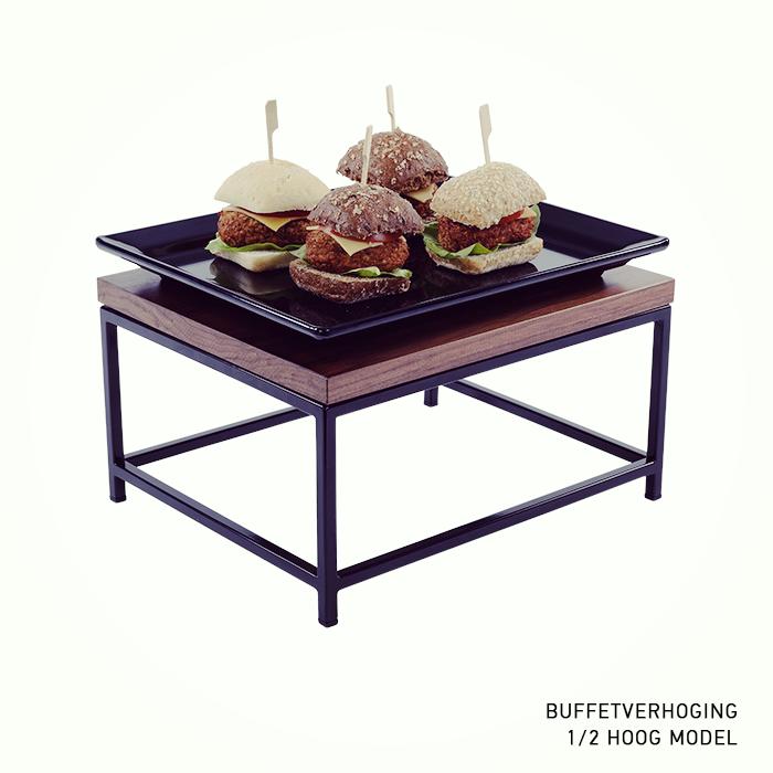 buffetverhoging buffetverhoger hoog model zwarte poedercoated 1 2 GN