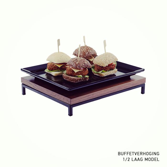 buffetverhoging buffetverhoger laag model zwarte poedercoated 1 2 GN