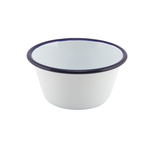 Ovenschaal emaille rond 12cm wit blauwe rand
