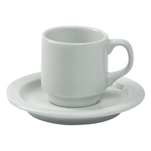 Koffiekop en koffieschotel Nordika wit Nova hotelporselein