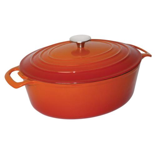 Braadpan gietijzer oranje ovaal deksel 6 liter