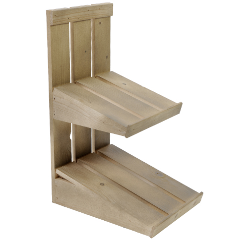 Display small 2 niveaus hout Old Look Finger Safe laklaag viekante kratjes