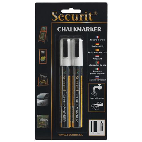 Krijtstift Securit Liquid middel wit set 2 stuks 2 tot 6 mm uitwisbaar