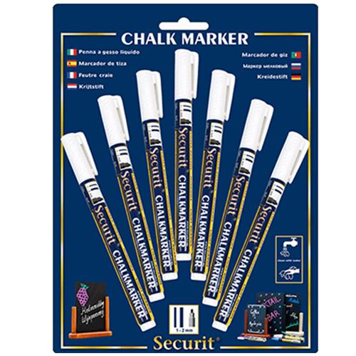 Krijtstift Securit Liquid wit set 7 stuks 1 tot 2 mm uitwisbaar