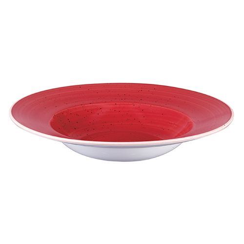 bord diep 28cm met brede rand rood churchill stonecast berry red SBRSVWBL1