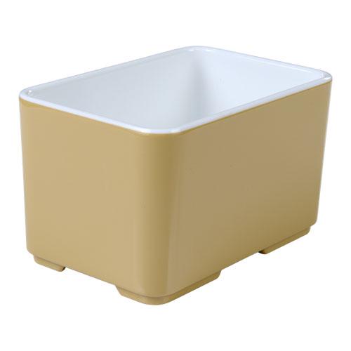 Melamine bakje rechthoekig halfhoog Cube champagne