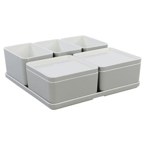 Cube organizer set12 kleur lichtgrijs melamine