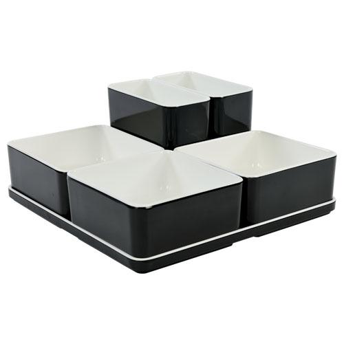 Cube organizer set16 kleur zwart melamine
