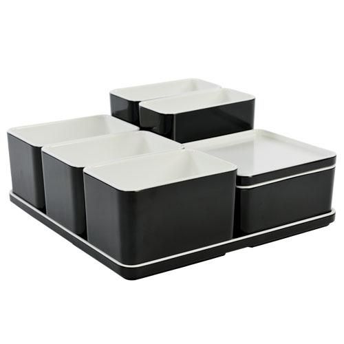 Cube organizer set19 kleur zwart melamine