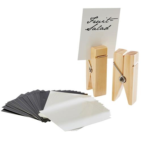 kaarthouder knijper hout set 2 stuks incl. 30 kaartjes wit en zwart