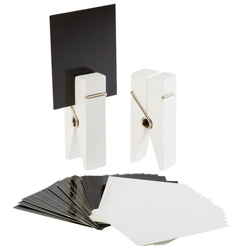 kaarthouder knijper hout wit set 2 stuks incl. 30 kaartjes wit en zwart