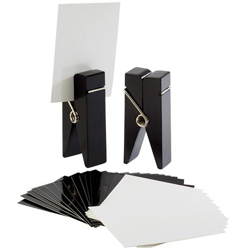 kaarthouder knijper hout zwart set 2 stuks incl. 30 kaartjes wit en zwart