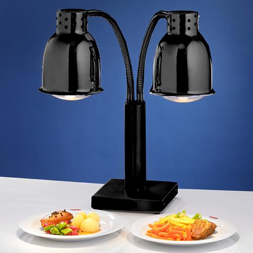 dubbele buffet warmtelamp zwart black met voet