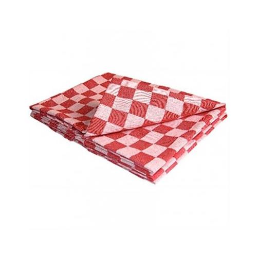 Keukendoek theedoek katoen rood geblokt 70x70cm