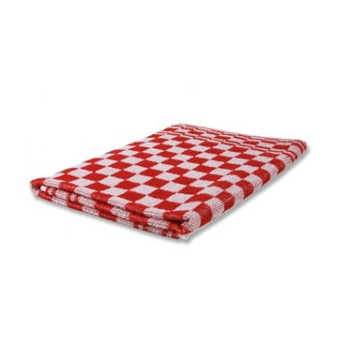 Keukenhanddoek katoen rood geblokt 50x54cm.