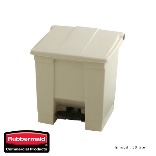 Rubbermaid step on classic afvalcontainer beige 30liter