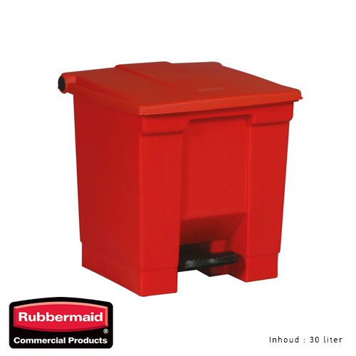 Rubbermaid step on classic afvalcontainer rood 30liter