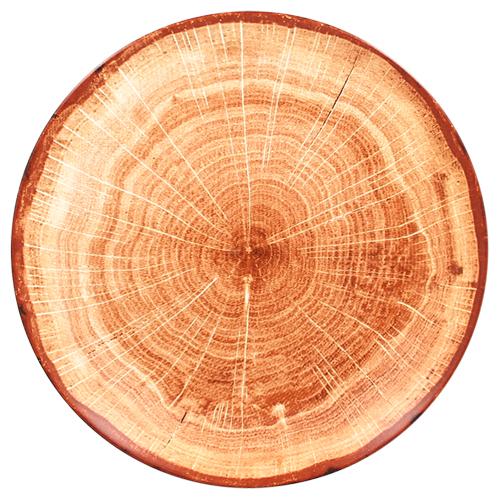 Coupebord plat diam 29cm Timber Brown bruin Woodart Rak Porcelain