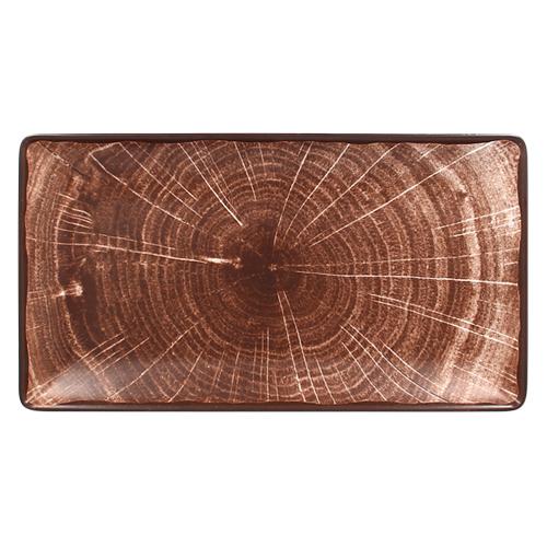Serveerschaal afm 33.5x18cm Oak Brown bruin Woodart Rak Porcelain