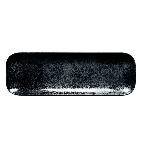 Schaal rechthoekig afm 33x11cm Carbon Zwart Karbon Rak Porcelain