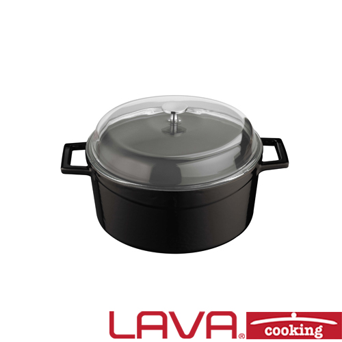 Stoofpan glazen deksel 20cm zwart LAVA cooking